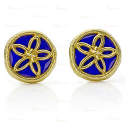 And Co. Schlumberger Yellow Gold Blue Enamel Clip-on Earrings