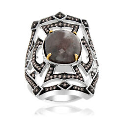 Heavy 8.48 Ct Slice Sapphire And Brown Diamond 18k Gold And Sterling Fashion Ring 7