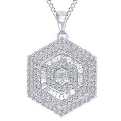 3/4 Ct Natural Diamond Sterling Silver Cluster Pendant Necklace 18 Chain