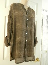 CHICO'S DESIGN Size 1 8-10 Brown Beige Print Semi-Sheer Tab Sleeve Tunic Blouse