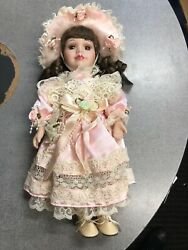 Porcelain Hand Made Doll Glass Eyes Pink 13 Inches New Unique