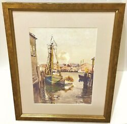 C. 1920and039s Alice Judson Watercolor Of Gloucester Harbor Massachusetts Nice Frame