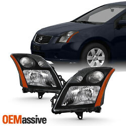 For 2007 2008 2009 Nissan Sentra Sedan L4 2.0l Black Headlight Left+right Pair