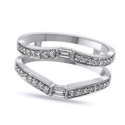 .25 Ct Baguette/round Diamond Ring Wrap Guard Enhancer 14k Solid White Gold