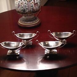 Four Exquisite Sterling Silver Salts By John Gates Ii London 1795