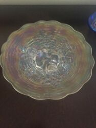 Northwood Carnival Rose Show Glass Frosty White 9 Plate Mint Condition Ext Rare
