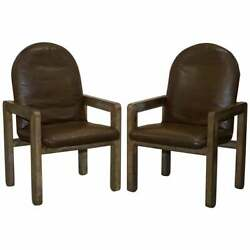 Pair Of Original Mid Century Vintage Aged Brown Leather John Makepeace Armchairs