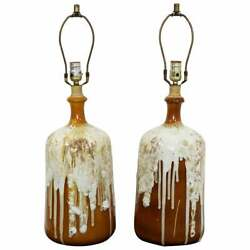 Mid Century Modern Pair Of Root Beer Float Drip Glaze Ceramic Table Lamps 1960s