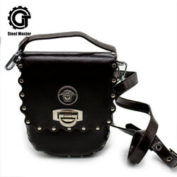 PU Leather Bucket Bags for Women with Rivet Badge Crossbody Shoulder Purse Brown $31.00