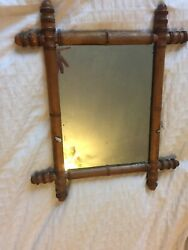Antique 19th Century French Faux Bamboo Carved Wall Mercury Glass Mirror Wood