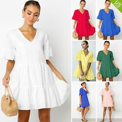 Women Cute Shift Dress with Pockets Fully Lined Bell Sleeve V Neck Mini Dress us