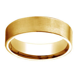 14k Solid Yellow Gold 6mm Comfort Fit Satin Finish Carved Design Band Ring Sz 7