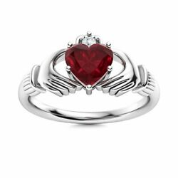 Certified Claddagh Ring Genuine Heart Cut Aaa Ruby And Diamond 14k White Gold