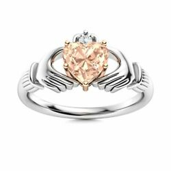 Certified Claddagh Ring Genuine Heart Cut Aaa Morganite And Diamond 14k White Gold