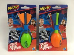New Lot Of 2 Nerf Pocket Aero Flyer Footballs Orange And Green Ships In Bubble Env