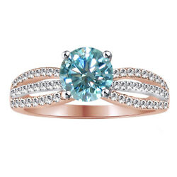 2.75 Ct Round Light Blue Moissanite Sterling Silver Bridal Engagement Ring