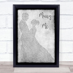 Marry Me Grey Song Lyric Man Lady Dancing Quote Print