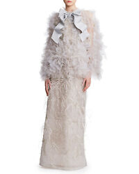 NWT Designer Couture Tulle Strapless Column Gown w Cape