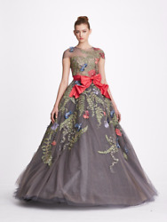 NWT Designer Couture Tulle Illusion Neckline Ball Gown