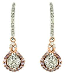 Estate 1.0ct White And Pink Diamonds 14kt White Gold 3d Cluster Tear Drop Earrings