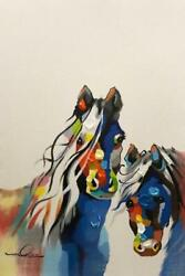 Horses Art 1400 - Hand Painted Canvas W/ Choice Of Frame 32 X 44 Overall