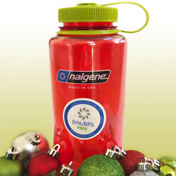 Nalgene Wide Mouth Water Bottle In Christmas Colors - 32 Oz. Red W/ Green Cap