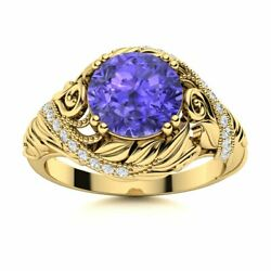 Natural Tanzanite And Diamond Vintage Art Deco Engagement Ring In 14k Yellow Gold