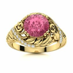 Natural Tourmaline And Diamond Vintage Art Deco Engagement Ring 14k Yellow Gold