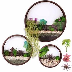 Pack of 3 Metal Wall Planters Vase Succulent Planter Circle Round Flower Pot