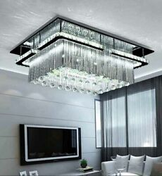 Exhibition Hall Crystal Ceiling Lamp Salon Rectangular Ceiling Light Fixture LED