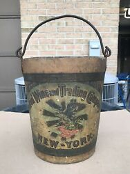Rare Antique United Wine And Trading Company Ny Advertising Bucket Pail 1899-1920