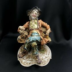 Vtg Capodimonte Large Figurine Tramp Drunk Hobo On Bench Marked Porcelain Italy $89.99