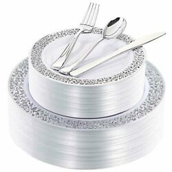 Silver Plastic Plates With Disposable Silverware Lace Design 180 Pieces Set