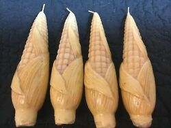 New Vintage Set 4 Taper Candles Corn Fall Thanksgiving Awesome Exc
