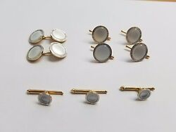 14 Karat Yellow Gold And Mother Of Pearl Tuxedo Shirt Studs And Cufflinks