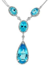 Large 11.80ct Diamond And Aaa Blue Topaz 14kt White Gold Tear Drop Lariat Necklace
