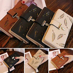 Women Lady Long Card Holder Phone Bag Case Purse Handbag Clutch Leather Wallet $14.97