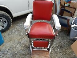 Emil J Paidar Vintage Barber Chair Old Salon Mid Century Cast Iron Antique Red