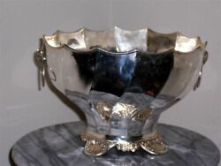 Hand Made East Indian Lg Convoluted Solid Silver Bowl W/ Rams Head Ring Handles