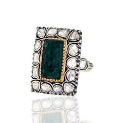 Carved Emerald Yellow Gold Ethnic Cocktail Ring Silver Diamond Jewelry