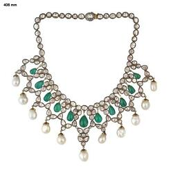 Uncut Diamond Emerald Necklace 925 Sterling Silver Jewelry For Sale