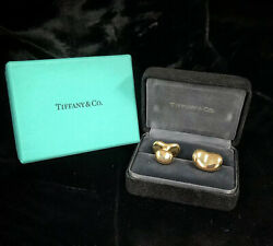 And Co. Elsa Peretti Bean Cuff Links 18kt Yellow Gold