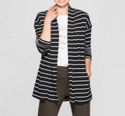 Womens Striped Open Knit Cardigan - A New Day-BlackCream-Size:L-NWT