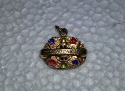 14k Jeweled Rotary Dial Telephone Charm Vintage Awesome 4.65 Grams Heavy