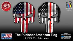 The Punisher American Flag And Thin Red Line Skull Full Color Stickers