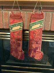 1945  2 Vintage Mesh Christmas Stockings With Toys Never Opened