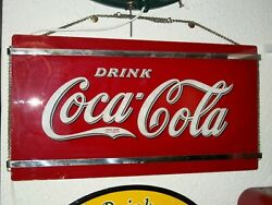 Excellent!1941 COCA-COLA Reverse GLASS SIGN Art Deco CHROME Bars LARGE RED+Chain