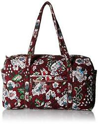 Vera Bradley Iconic Large Travel Women#x27;s Duffel Bag Bag Bordeaux Blooms $76.45