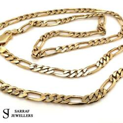 Solid Curb Figaro Heavy 9ct Yellow Gold Genuine 6mm Wide Chain Men's Ladies 26