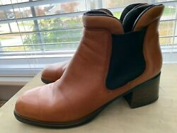 Women's Designer Rieker Slip On Brown Leather Ankle Boots Size 8-8.5